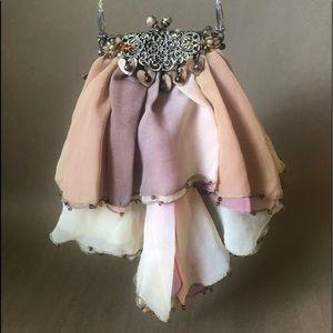 MARY FRANCES ombré sheer silk beaded evening bag